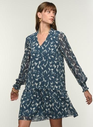 NGSTYLE Ngkss21El0015 Fırfır Detaylı Desenli Elbise İndigo